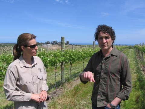 VINEYARD AND CELLAR TOGETHER: RACHEL STEER AND MIKE FRAGOS, WITH CHAPEL HILL WINERY IN THE BACKGROUND, McLAREN VALE, SOUTH AUSTRALIA